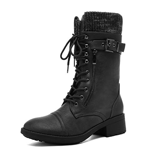 DREAM PAIRS Women's Amazon Black Mid Calf Combat Riding Boots Size 7.5 M US
