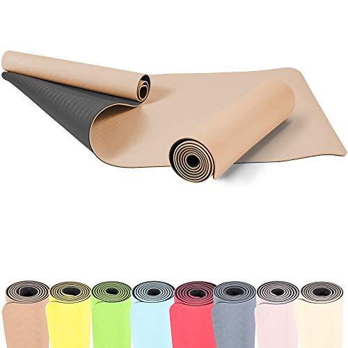 GORILLA SPORTS® Yogamatte 180 x 60 x 0,6 cm TPE rutschfest – Matte für Fitness, Yoga, Pilates, Gymnastik in Braun