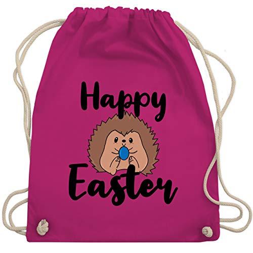 Shirtracer Ostern - Happy Easter Igel mit Ei - Unisize - Fuchsia - Statement - WM110 - Turnbeutel und Stoffbeutel aus Baumwolle