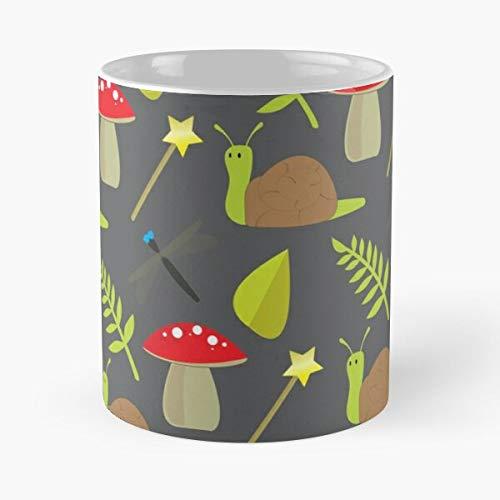 Whimsical Garden Creatures Snail Magic Magical Fairy Woodland Eat Food Bite John Best 11 Ounce Ceramic Coffee Mug