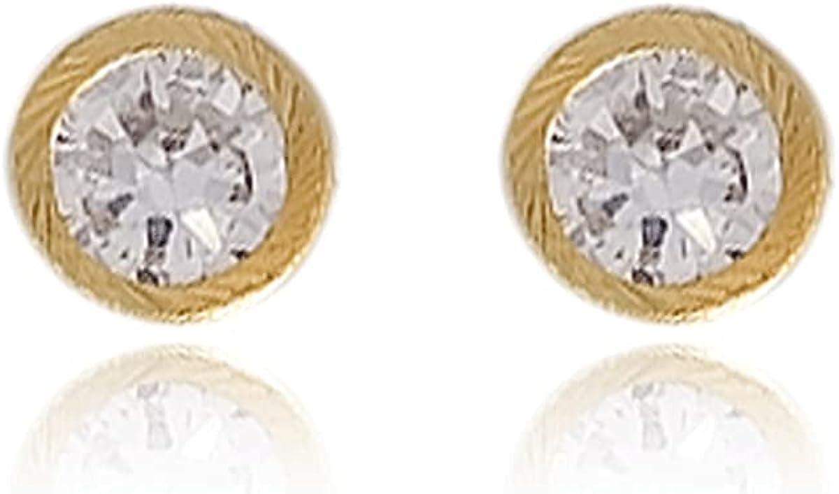 18K Gold Laminated CZ Circle Cufflinks, Measures 1cm High, .3cm Wide #395