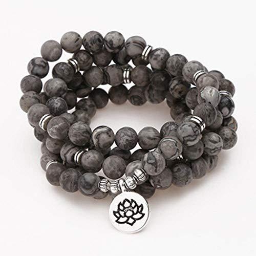 Maniny Pulsera Budista de Yoga, 108 Piezas Cuentas Collar para Yoga Budista Rosario oración Encanto Pulsera Loto Pulsera De Cuentas Buddhist Bracelet - Tree of Life Pendant