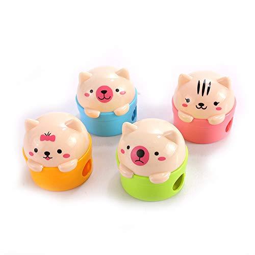 BinaryABC Cartoon Pencil Sharpeners, Cat and Bear Two-Holes Pencil Sharpeners,8Pcs(Random Color)