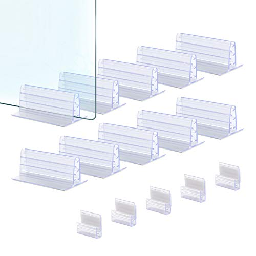 Lenink 10Pcs Adhesive Sneeze Guard Holder, Self Adhesive Plexiglass Holder Stand with 5Pcs Label Clips for 3/16' to 1/4' Thick Fasten Acrylic Panels Plexiglass Sheets