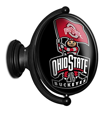 Shop Grimm OSU Ohio State Buckeyes Rotating LED Wall Sign Featuring Brutus with a Block O Flag - Made in USA