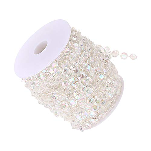 Clear Iridescence Acrylic Crystal Like Beads for Wedding Party Christmas Home Decorations, Craft DIY, 1 Roll of 30 Metres