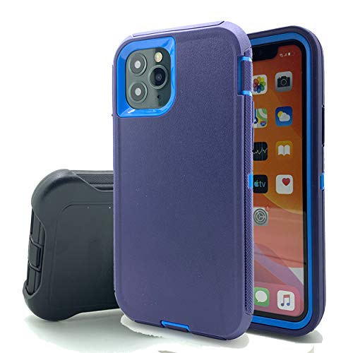Kecko Heavy Duty Shockproof Durable Scratch Resistant Tough Screenless Military Grade Protection Armor Defender Case Cover with Rotating Belt Clip Holster for iPhone 11 (Navy Blue)
