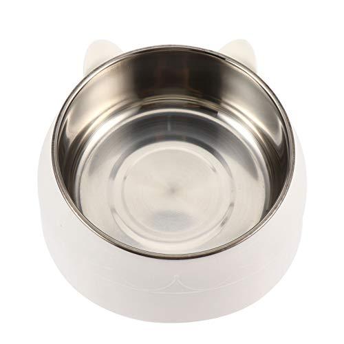 Balacoo Haustierfütterungsschalen Erhöht Edelstahl Hundefutterbehälter für Welpenkatzenwasserfutter Das Haustierliebhabergeschenke Hält (Weiß 400Ml)