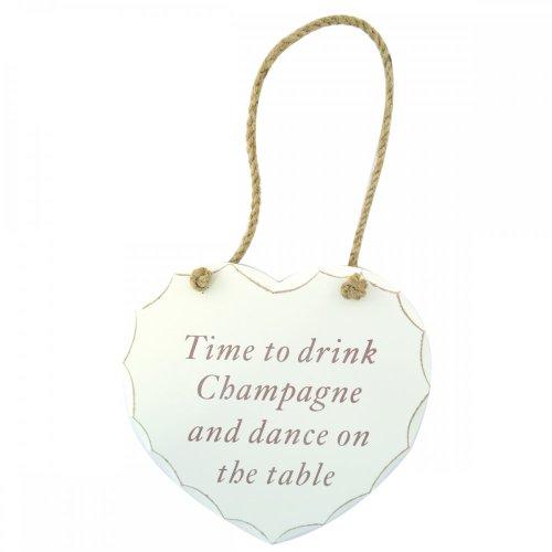 Lesser & Pavey - Targhetta in legno a forma di cuore con scritta 'Time To Drink Champagne and dance on the table' in stile Shabby Chic, colore: Bianco/Oro