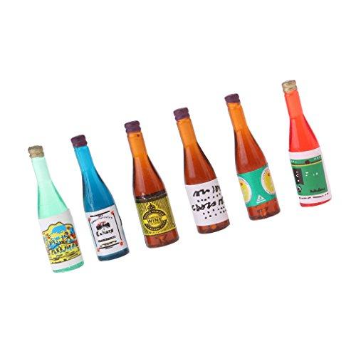 Unbekannt 6 Stück 1/12 Puppenhaus Küche Miniatur Weinflaschen Modell - Mehrfarbig