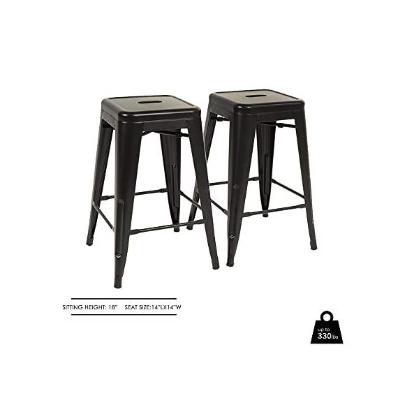 """FDW Metal Bar Stools Set of 4 Counter Height Barstool Stackable Barstools 24 Inch 30 Inch Indoor Outdoor Patio Bar Stool Home Kitchen Dining Stool Backless Bar Chair (Black, 24"""") 6 ❤【STACKABLE AND EASY TO STORAGE】: Each bar stools is the same size, and the feet are open to the outside, which is a special design to storage.Durable bar stools can be stacked and to save storage space when you don't need them. ❤【THE MATTE RUST-PROOF METAL STOOLS】: The 30"""" bar stools is protected by high-quality paint, high-quality paint forms a protective film on the surface of the bar stools, which is scratch-resistant and smell-free. Easy to clean, and suitable for a wide range of occasion. ❤【PROTECT THE FLOOR】: Anti-slip plastic mats on the four feet of the bar chair,can be slip-resistant and protect your floor when you move it. There are four pedals around the bar stools. When you are tired, you can placed your feet on footrest, relax and enjoy your time."""