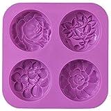 Cozihom Silikon-Seifenformen, Blume, hausgemachte Seifenform, Muffin, Pudding, Gelee, Brownie und...