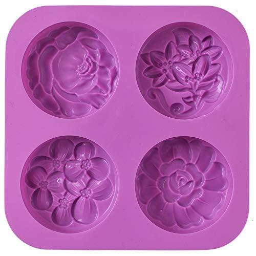 Cozihom Moldes de jabón de silicona de flores, molde de jabón casero, magdalenas, pudín, gelatina, brownie y cheesecake, antiadherente y libre de BPA.