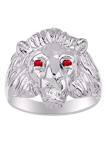 Amazing Conversation Starter Genuine Natural Diamond & Gorgeous Red Ruby Lion Head Ring in 14K White Gold