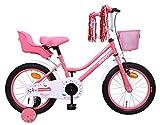 Amigo Magic - Bicicleta Infantil de 16 Pulgadas - para niñas 4 a 6 años - con V-Brake, Freno de Retroceso, Cesta, Asiento para muñecas, Timbre y ruedines - Rosa