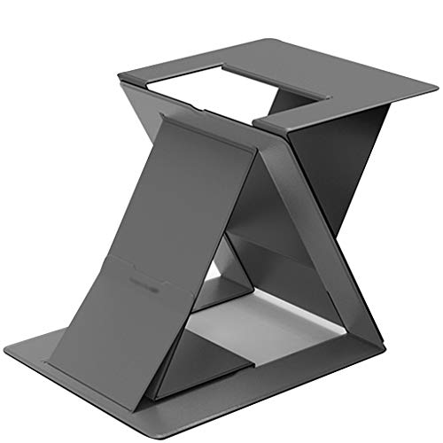 Laptop stand Computer Laptop Holder Stand-up notebook stand, office desktop lifting, multi-angle folding, lifting height Lightweight and portable will deform (Color : Black)