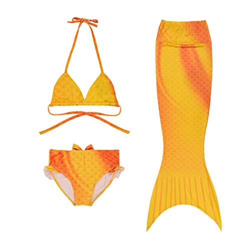 wetry Cola de Sirena Niña para Nadar Incluido Traje de Sirena Baño de Bikini de 3 Piezas/100