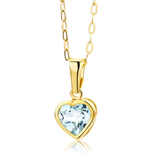 Miore Kette - Halskette Damen Gelbgold 9 Karat / 375 Gold Kette mit Herz Blauer Topas 45 cm