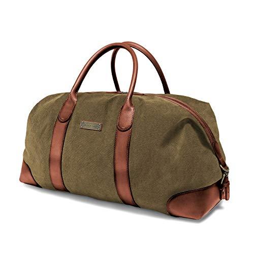 DRAKENSBERG Duffel Weekender - Borsone grande, borsa da viaggio, retrò vintage, per donna e uomo, espandibile, realizzata a mano in qualità premium, 60L, tela e pelle, verde oliva, DR00126