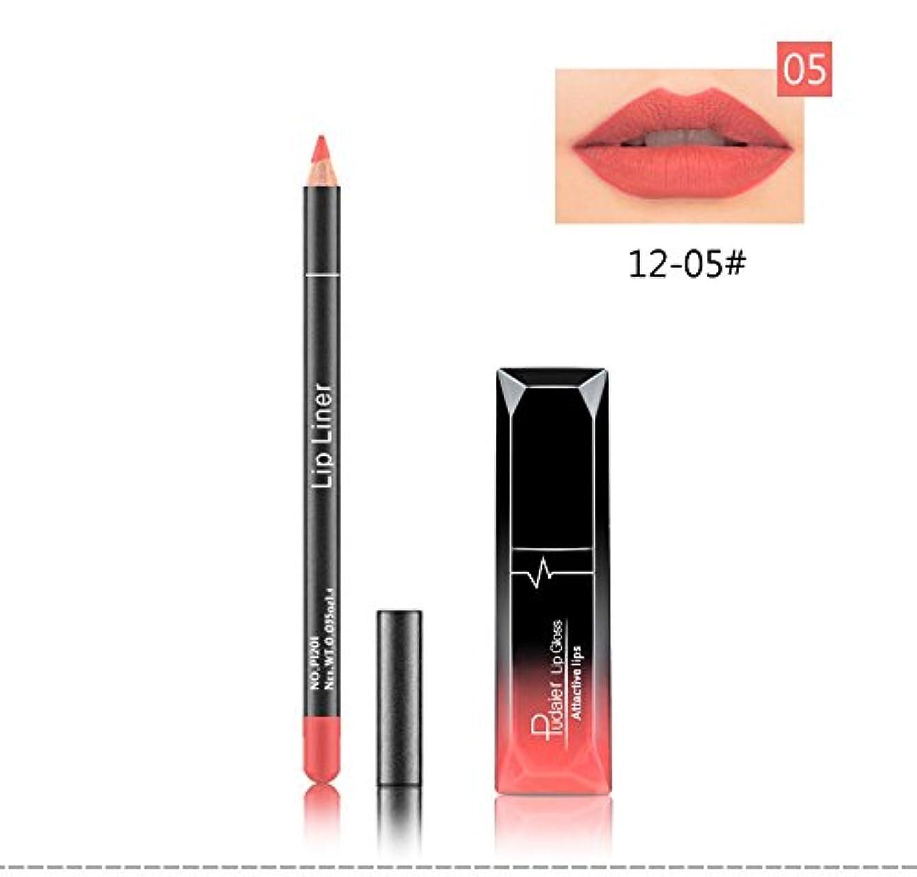 ケーブル役割困惑した(05) Pudaier 1pc Matte Liquid Lipstick Cosmetic Lip Kit+ 1 Pc Nude Lip Liner Pencil MakeUp Set Waterproof Long Lasting Lipstick Gfit
