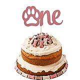 Dog Cake Topper 1, Rose Gold Glitter Dog 1st...
