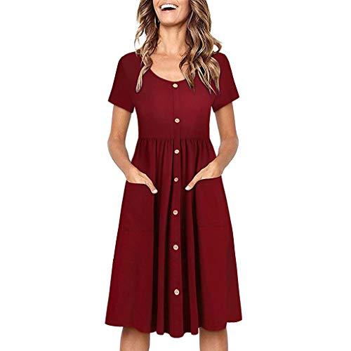 Vimoli Kleider Damen Kurzarm Solide Rundhalsausschnitt Knielang Kleid Button Sundress Taschen Lässige Kleid(Rot,De-44/CN-XXL)