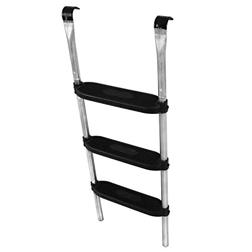 Ampel 24 Trampolin Leiter 110 cm lang, Treppe mit 3 Breiten Stufen, praktischer Einstieg für große Gartentrampoline, Silber