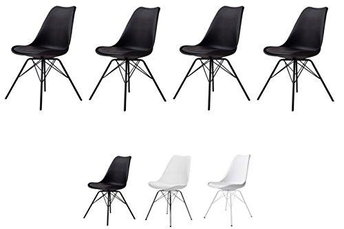 TENZO 3336-024 4er-Set PORGY Designer Stühle, Metall, Schwarz, 82,5 x 48,5 x 54 cm (HxBxT), Kunststoff, Polypropylen