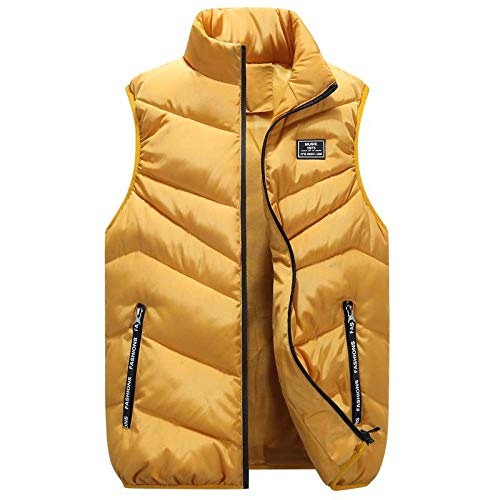 BAONUANY Gilet Mensen, Geel Vest Winter Dikke Plus Size Taillejas Warm Zwart Casual Winddicht Mouwloos Bovenkleding Mode Vest