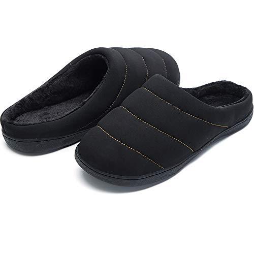 Zapatillas Espuma de Memoria Uomos de Invierno Cálidas Zapatillas de Interior para Exteriores Zapatillas Impermeables para Mujer Negro Gr.44 45