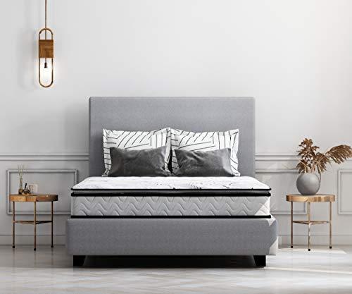 Ashley Furniture Signature Design  10 Inch Bonnell Pillow Top Mattress  Queen Size  White