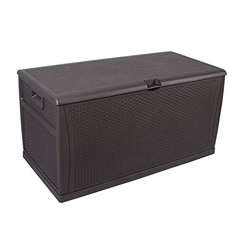 DHTOMC Outdoor Storage Box Rattan 460L Outdoor Lockable Storage Deck Box Garden Tool Cabinet Sun And Waterproof For Balcony Garden Box (Color : Black, Size : 120x61x63cm)