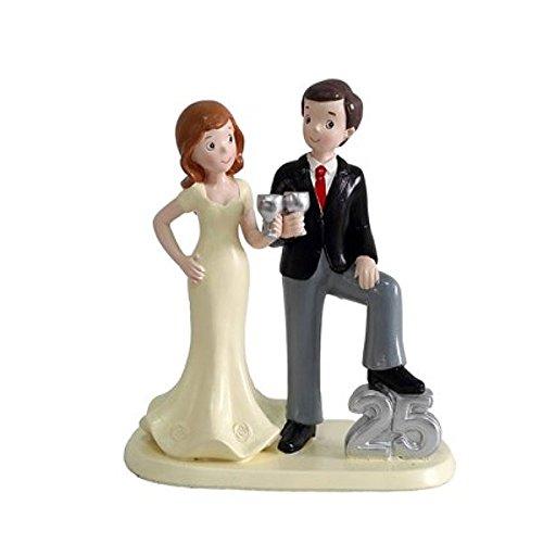 Figura de pastel 25 aniversario, boda de plata