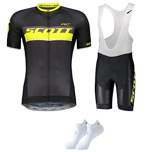 Homme Maillot de Cyslisme Manches Courtes + Cuissard 3D Gel Coussin Solide Tenue VTT Combinaison Vélo Jersey Respirant Séchage Rapide Cycliste Printemps Ete(Plusieurs Couleurs)