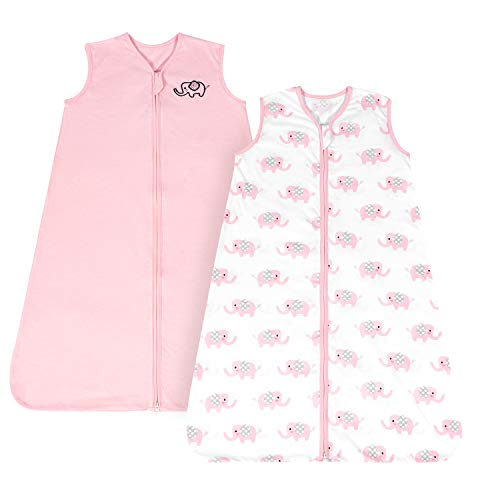 TILLYOU Large L Breathable Cotton Baby Wearable Blanket with 2-Way Zipper, Super Soft Lightweight 2-Pack Sleeveless Sleep Bag Sack Clothes for Girls, Fits Toddlers Age 12-18 Months, Pink Elephant