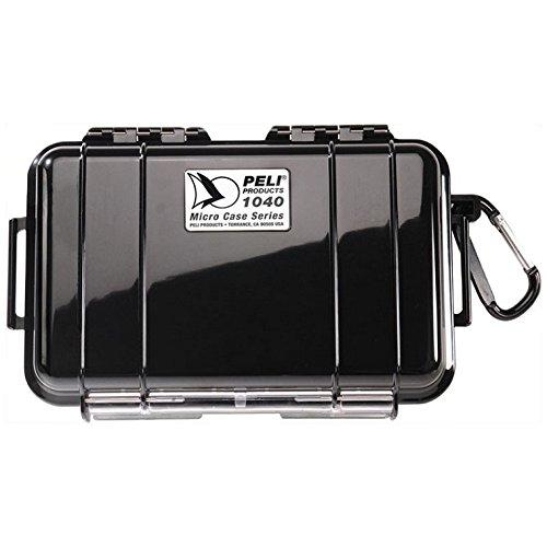 PELI 1040 micro boîtier pour la protection de petits objets, étanche IP67, capacité de 0,7L, fabriqué aux Etats-Unis, revêtement noir/noir