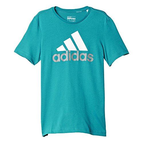 adidas YB ESS Logo Tee - Camiseta para niños, color Turquesa / Blanco / Gris (Eqtver/Blanco/Grpuch), talla 98