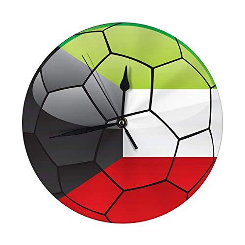 FETEAM Reloj de Pared Redondo Bandera de Kuwait en balón de fútbol Decorativo para hogar, Oficina, Escuela