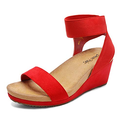 DREAM PAIRS Women's Red Open Toe Elastic Ankle Strap Platform Wedge Sandals Size 8.5 M US Nini-5