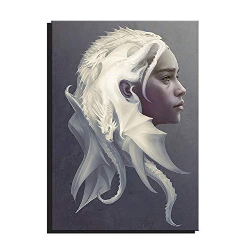 Toile Art Game Thrones Dragon Mère Daenerys Film Affiche Dessin Art Décoration Murale Decoracion-50x70 cm Pas de Cadre