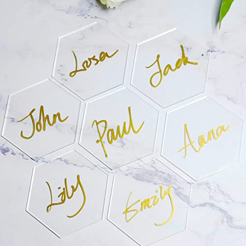 ATOMZING 50PCS Clear Hexagon Acrylic Place Card Names for Wedding Party or Event DecorClear Christmas OrnamentsEscort Cards for TableCustom Name Settings Card Guest Names Cards