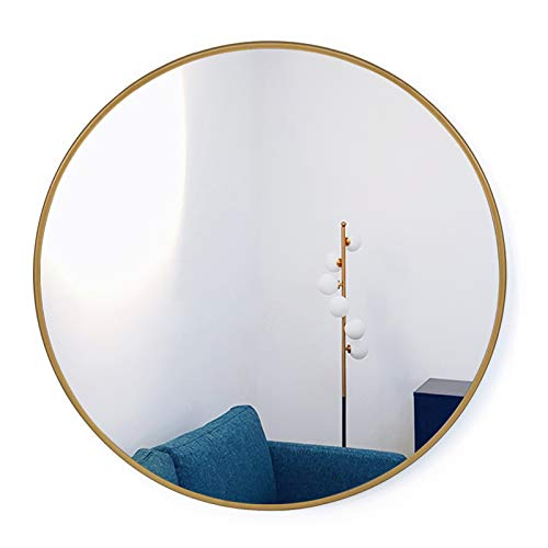 HofferRuffer, Round Mirror/Circle Hanging Mirror/Large Decorative Metal Frame Round Wall Mirror for Home Bedroom, Bathroom, Washroom, Living Room and Entryways (Gold, 60cm)