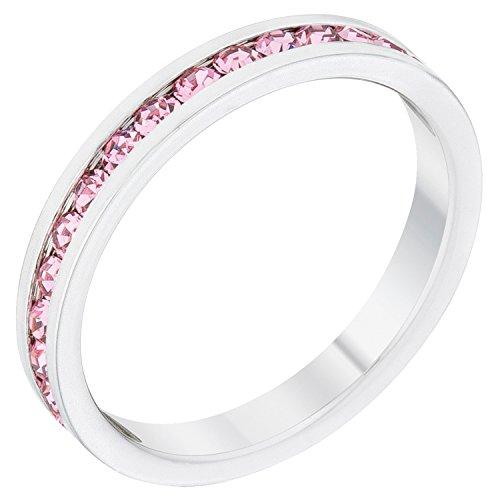 Kate Bissett Stylish Birthstone Stackables Swarovski Crystal Pink -October Size 10