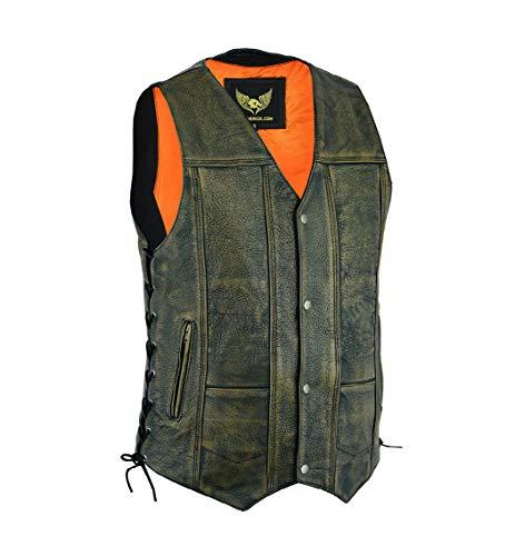 Chaleco de cuero de piel de vaca de grano superior marrón envejecido con 10 bolsillos Chaleco de cuero de motorista vintage con bolsillos profundos