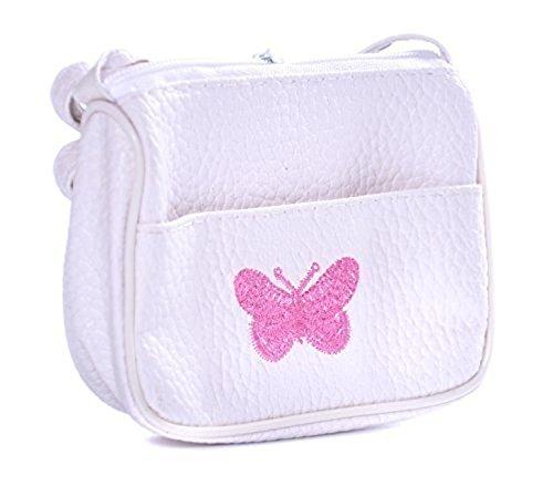Kinder Handtasche mit eingestickten Butterfly - Weiß