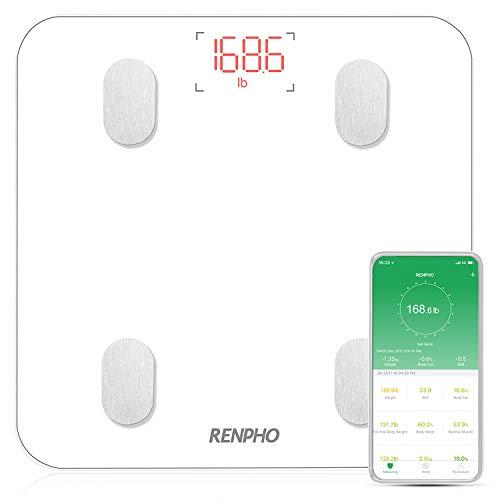 RENPHO Körperfettwaage, Bluetooth Personenwaage mit App, Smart Digitale Waage für Körperfett, BMI, Gewicht, Muskelmasse, Wasser, Protein, Skelettmuskel, Knochengewicht, BMR, Weiß