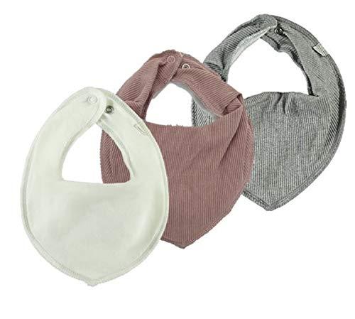 NAME IT 3er Set UNI ~ verschiedene ~ Baby Dreieckstücher Halstuch Lätzchen 3 Stück ~ zur Auswahl (weiß-woodrose-grau)