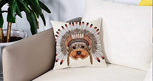 Pillowcase,Cuscini da Letto,Yorkie, Yorkshire Terrier in guerra Bonnet Cultura etnica disegnata a mano Cane carino illustrazCuscini Per Copricuscini Divano Caso Federa Home Decorativi 45x45 Cm