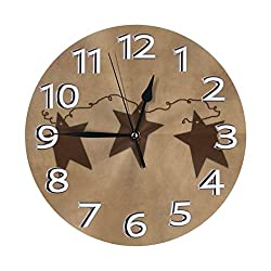 Vintage Rusty Stars Primitive Country Rustic Primitives Wall Clock, Silent Non-Ticking Quality Quartz Battery Operated Wall Clock - 10 Inch Round Easy to Read Decorative for Home Office School