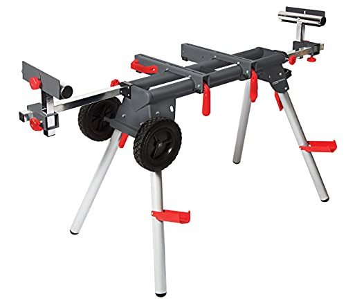 PROTOCOL Equipment Contractor Miter Saw Workstation, Universal Mount, Durable Steel Construction, Foldable Legs for Portability, Adjustable Width, Supports 500 lbs. Pack of 2